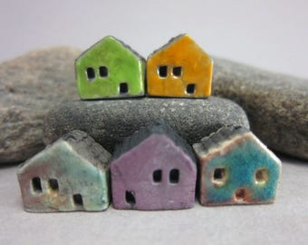 5 Raku House Beads...Green Yellow Copper Purple Lagune