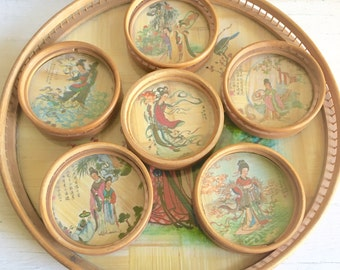 Vintage Round Natural Bamboo Tray and 6 Coasters - Asian theme