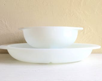 SALE - Pair of Large All White Pyrex Dishes Oven Safe Divided Serving Bowls