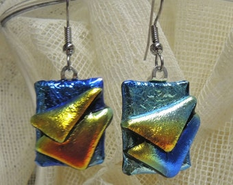 Dichroic Glass Earrings, Blue, Orange and Red, Layered Dichro Earrings, One Of A Kind