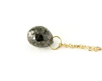 Black Diamond Briolette Necklace - 14k Gold Diamond Pendant - Minimalist Diamond Necklace