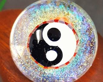 Yin Yang art glass marble 1.3 inch  collectors handmade  boro marble by Joe Crisanti Glass