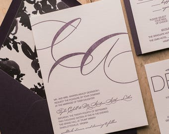 Letterpress, 1 color  - Violet and Black Floral Wedding Invitations - SAMPLE (JESSICA)