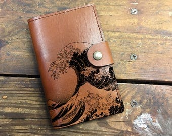 waves Leather Journal, Leather Sketchbook, Leather Passport cover, moleskin Journal, field notes journal, moleskin cover