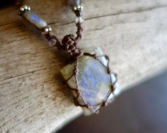 Labradorite Macrame Necklace   Stone of Transformation   Micro-Macrame   Unisex, Healing Crystal Jewelry