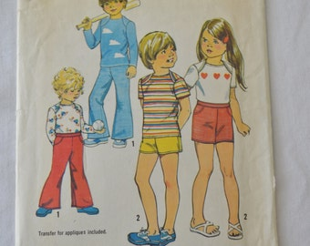 Vintage 70s Child's Bell Bottom Pants Shorts and Pullover Top Sewing Pattern Simplicity 6363 Size 2 Breast 21