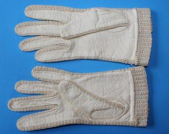 Vintage Wrist Length LeatherGloves with Knit Wrist