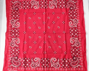 Vintage RED Bandana,  All Cotton, Fast Color, Made in USA, RN13960