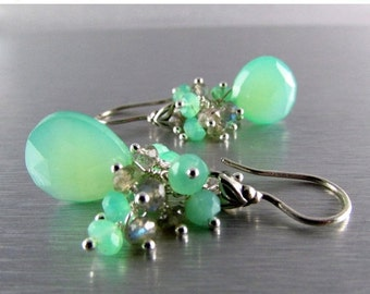 25OFF Seafoam Green Chalcedony With Labradorite And Chrysoprase Sterling Silver Wire Wrapped Earrings