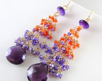 25% Off Amethyst and Gold Filled Long Orange And Purple Cluster Earrings