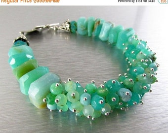25% Off Peruvian Opal and Chrysoprase Sterling Silver Cluster Bracelet