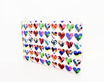 Hearts Pouch, Small Zipper Pouch, Cute Pouch, Coin Purse, Fabric Pouch, Gift for her, Pouch, Liberty of London Marble Hearts White