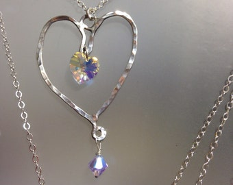 Silver heart necklace with Swarovski crystal heart rainbow crystal heart Valentine gift