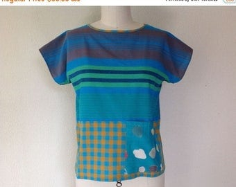SALE Mia cotton top with pockets- turquoise stripe- S