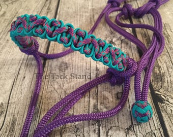 """1/4"""" Polyester Firm/Soft Purple Rope cord Horse Halter Decorative Paracord Knots with Purple, Pink and Light Teal"""