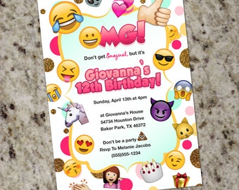 Emoji Birthday Invitation - Emoji Themed Party Invitations - Emoji Theme - Printable - Glam Emojis - Print Your Own