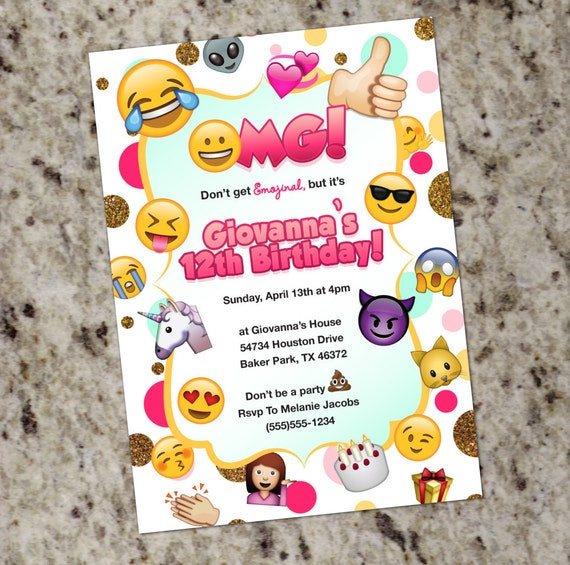 emoji birthday invites