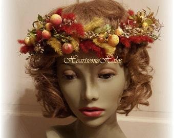 Head wreath berries renaissance circlet natural looking woodland reds green yellow