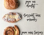 5 ways to order a Pastry in France , Breakfast in Paris, Paris Photography, Boulangerie, Paris Pastry, Croissant Kitchen Home Decor, Red