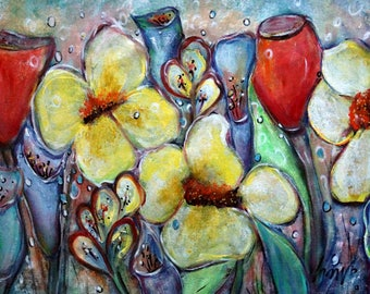 Flowers Painting Original Oil Canvas Floral Whimsical Artwork by Luiza Vizoli Ready to Ship