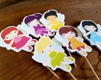 Tinkerbell & Friends Party - Set of 12 Assorted Fairy Cupcake Toppers by The Birthday House