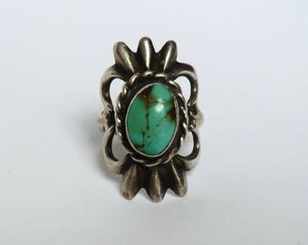 Vintage Silver Turquoise Ring Sand Cast Native American Ring Size 8