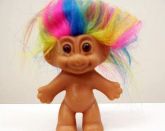 80s Russ Rainbow Hair 3 Inch Troll slightly imperfect