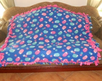 Hedgehogs on Medium Blue Pink Back Fleece Tie Blanket No Sew Fleece Blanket Fleece Throw No Sew Throw 48x60 Approximate size