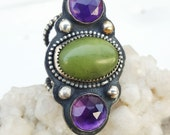 Amethyst and Olive Green Serpentine Ring in Sterling Silver Size 6.5