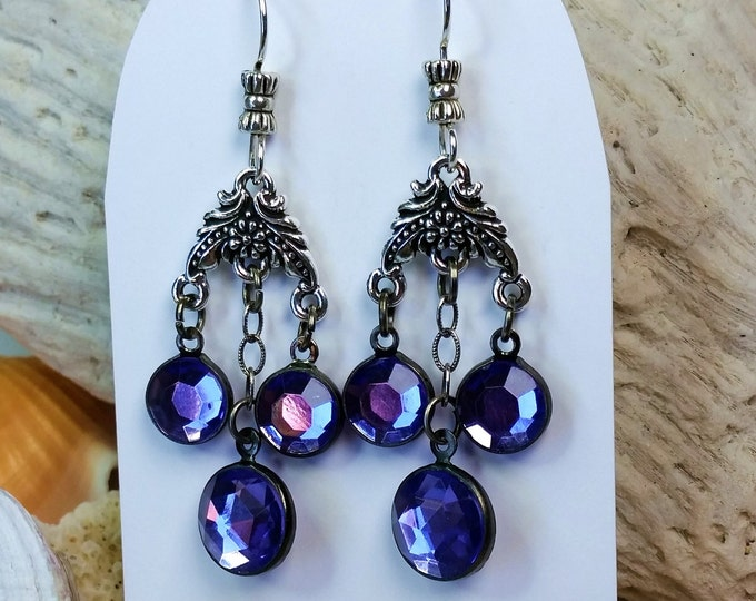 Silver Chandelier Earrings with Faceted and Bezeled Purple Crystal Drops