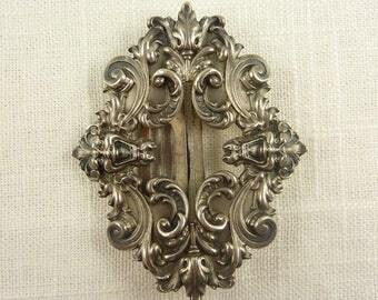 Antique William Kerr Sterling Renaissance Revival Gargoyle Face Buckle