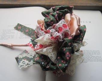 Fabric Flower Bouquet, Vintage Fabric Wedding Bouquet w/ Matching Boutonniere, OOAK Bouquets, Green, Peach Satin, Ivory Lace, Unique