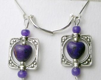 Purple Heart in silver frame earrings purple magnesite silver plated charm holiday earrings leverback heart earrings elegant classy