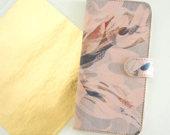 Pink Leather iPhone 7 case, Galaxy S8 Case, iPhone 6s Case, iPhone 7 Plus Case, iPhone SE Case - EDEN - Gold and Pink Suede Lining