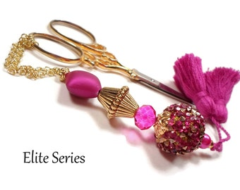 Fuchsia Jeweled Gold Handmade Scissor Fob Beaded Scissor Minder OOAK Key Fob Sewing Accessory Quilting Needlepoint Cross Stitch