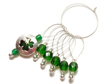 Shamrock Stitch Markers Snagless Emerald Green Knitting Tools Beaded Snag Free Handmade Gift for Knitting Supplies St Patrick's Irish