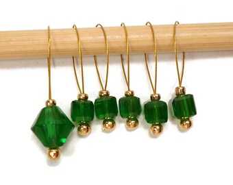 Knitting Stitch Markers Beaded Emerald Green Tiny Cubes Snagless