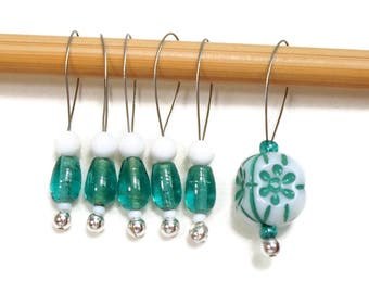 Knitting Stitch Markers Snag Free DIY Teal Green White Beaded Stitch Markers Gift for Knitter Craft Supplies