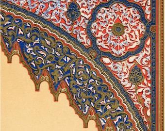 Antique Owen Jones Print - Moresque No. 2 - Plate 40 - Rare 1865 Design Chromolithograph - Grammar of Ornament