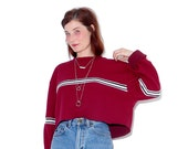 90s cropped sweater crop top / oversized cropped boyfriend sweatshirt raw hem ribbed fabric racing stripes 90s clothing 90s grunge thermal