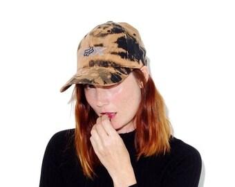 HURRY HALF OFF motocross Fox hat  // size large // black hat custom bleached bleach dye tie dye wide brim hat dad hat baseball cap baseball