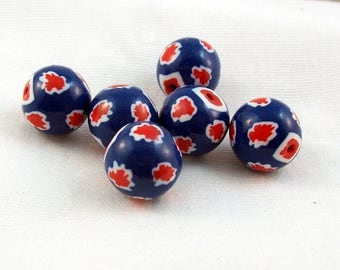Red, White and Blue Splash Round Beads - Handmade from Polymer Clay