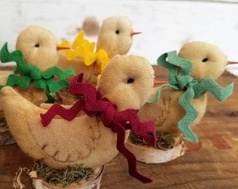 Primitives Mini Chick, A Cottage Chic Easter Spring Chick Folk Art Shelf Sitter