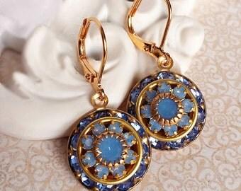 Art Deco Earrings - Blue - Crystal Cluster Earrings - Art Deco Jewelry - AURORA Frosty