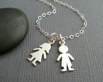 sterling silver boy girl necklace small tiny mother children child kids kiddos new baby new mom family jewelry male female symbol custom