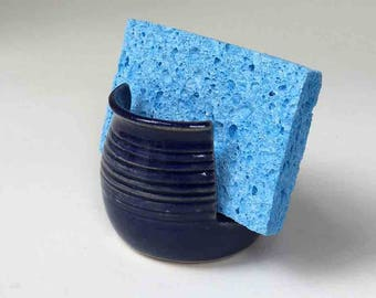 Sponge Holder, Deep Blue, Stoneware, Cobalt Blue Kitchen Sponge Holder, Wheelthrown Pottery, Nautical Blue, Deep Blue