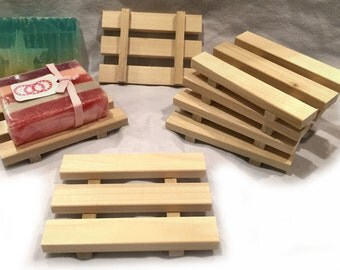 6 soap dishes  - 1 DOLLAR each - NEW design - 3x4 natural poplar wood soap dishes -