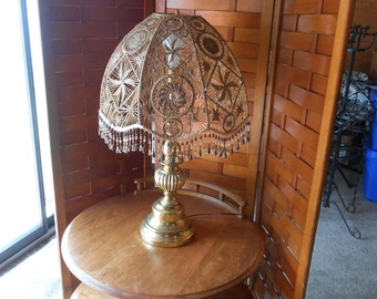 Vintage Macrame 70s  Boho Hippie Lamp with beaded fringe