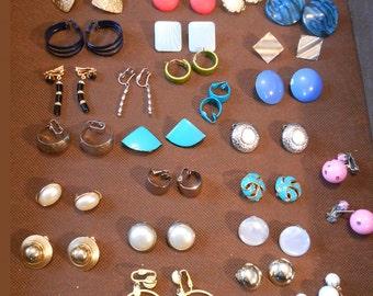Colorful Earrings LOT - Mod Earrings - 80s Earrings - 32 Pairs