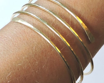 Wide Gold Bangle - Open End Layered Bangle Bracelet - Brass Bangle - Gold Bangle - Hammered Bracelet - Made to Order